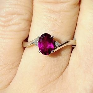 10kt White Gold Rhodolite and Diamond Ring Size 7